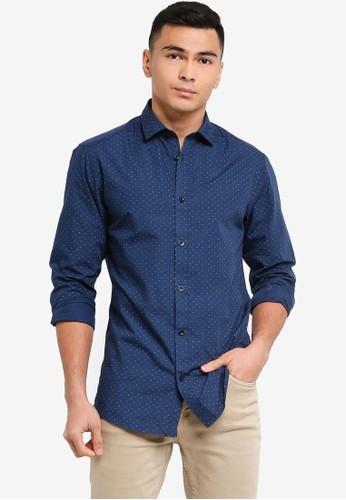 Only & Sons blue Sane Ditsy Poplin Shirt A65EEAA35DE73AGS_1