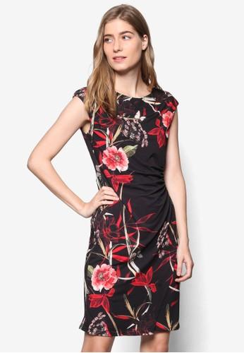 東方印花裹esprit 尖沙咀式蓋袖連身裙, 服飾, 洋裝