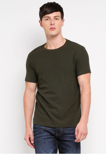 Burton Menswear London 綠色 修身紋理T恤 0DF97AA92A3BE2GS_1