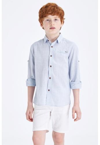 DeFacto blue Long Sleeve Cotton Shirt 99AA9KAE6BFBD5GS_1