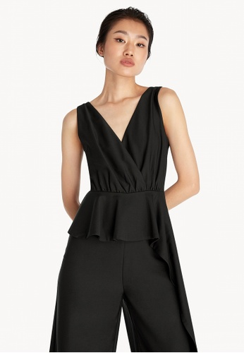 Pomelo black Side Drape Sleeveless Jumpsuit - Black 41408AA98DF812GS_1