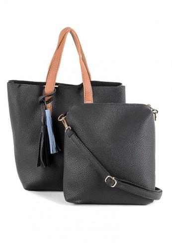House of Bai black Korean Design Leather Tote Bag HO716AC0JI1SPH_1