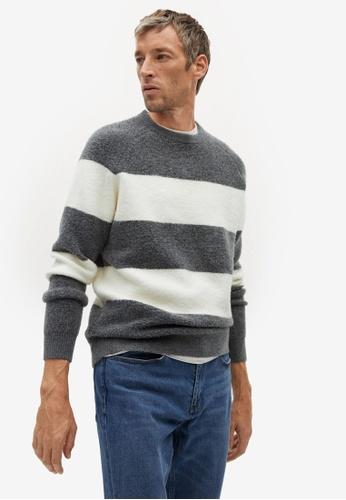 MANGO Man grey Stripe Textured Wool-Blend Sweater E1936AAE970C66GS_1