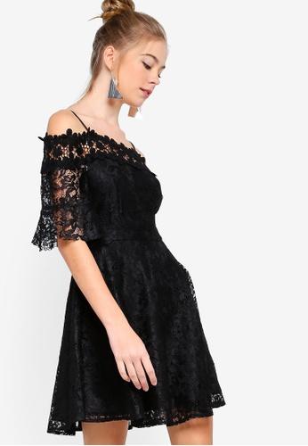 Something Borrowed black Off Shoulder Lace Dress 2A8F8AAFFF7520GS_1