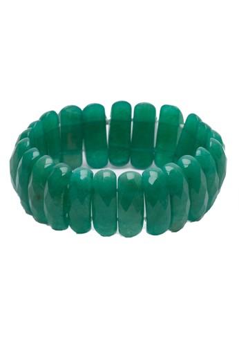 Celline Silver green Chiclet Aventurine Bracelet CB7D8ACB6D2472GS_1