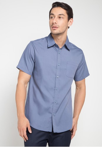 Tolliver blue Short Sleeve Oxford Shirt 396A8AA48AB9BEGS_1