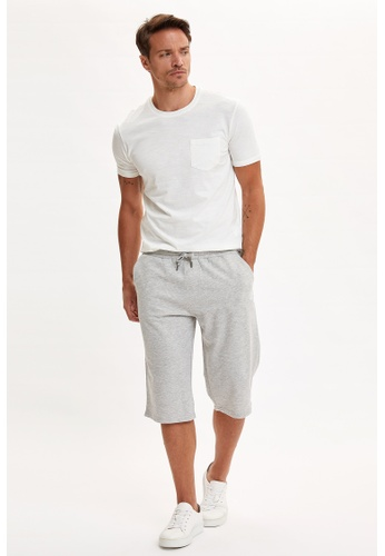 DeFacto grey Regular Fit Sweatshirt Long Bermuda Shorts 93365AA2127F9CGS_1