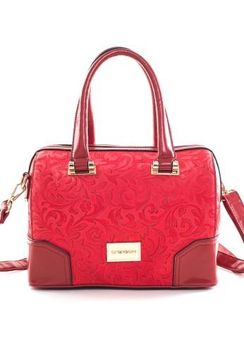 典雅刺繡花卉小波士頓包 紅, 包esprit門市地址, 斜背包