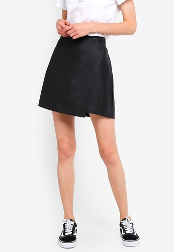 Abercrombie & Fitch black Leather Mini Skirt 6B41CAA6AB5294GS_1