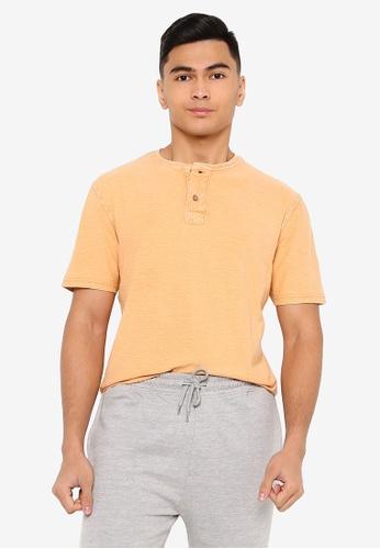 Brave Soul orange Crew Neck Button Placket Contrast Tee B11CDAA7819EA5GS_1