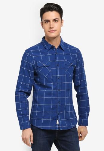 Jack Wills navy Enmore Lw Slub Check Flannel Shirt 39CEDAA3001308GS_1