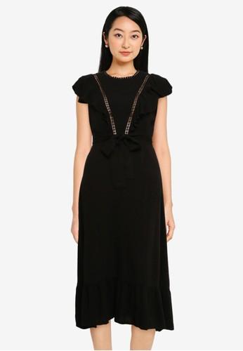 ZALORA BASICS black Textured Ruffle Midi Tie Dress 4F8E3AAFE1F40BGS_1