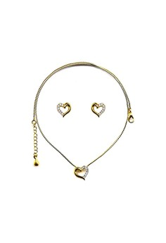 Paris Bijoux ST00358A Set 22K Gold Plated Heart Shaped Necklace with Earrings - Crystal