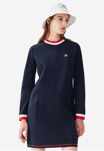 FILA navy Rhinestone F-box Logo Long Sleeve Dress D7370AA5A0956AGS_1