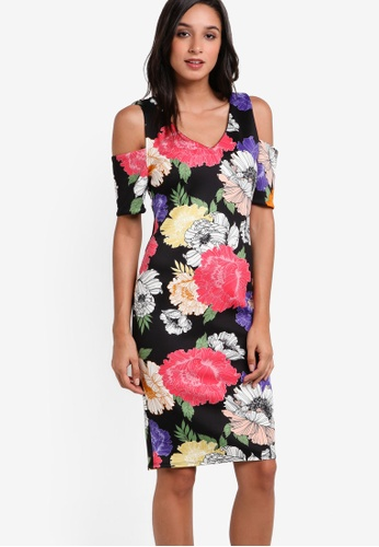 Dorothy Perkins multi Floral Cold Shoulder Dress DO816AA98UJDMY_1