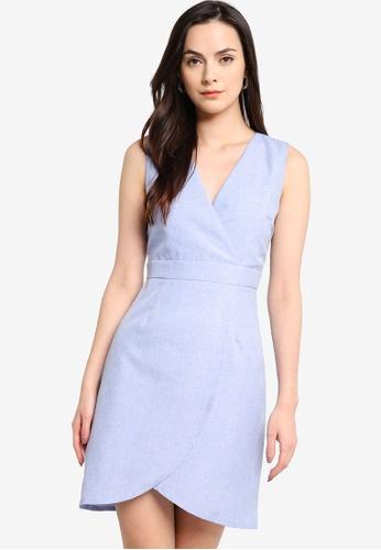 ZALORA WORK blue Sleeveless Wrap Mini Dress A08C6AA09225E5GS_1