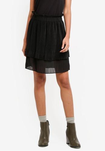 Sisley black Pleated Layered Skirt D8203AA03AD2A4GS_1