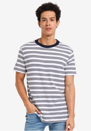 MANGO Man blue Striped Cotton T-Shirt 633BAAACC57468GS_1