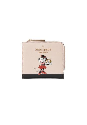 KATE SPADE black and pink Kate Spade Disney x Kate Spade New York Minnie No window L-Zip Bifold Wallet wlr00285 14EA3AC171CA81GS_1