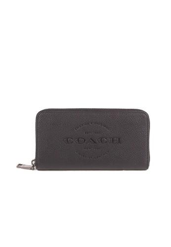 COACH black Coach Embossed F24648 Accordion Zip Wallet In Black 2979FAC08B6784GS_1
