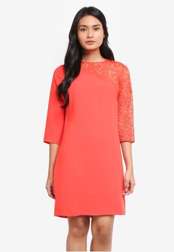 Dorothy Perkins pink Asymmetric Lace Sleeve Shift Dress 939F5AA5639E71GS_1