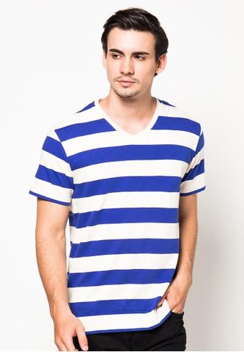 OCEAN LINE Stripe Jersey Slub V-Neck Slimfit T-Shirt