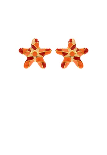 Glamorousky silver Fashion Simple Plated Gold Enamel Starfish Stud Earrings BBE77AC5D8CD70GS_1