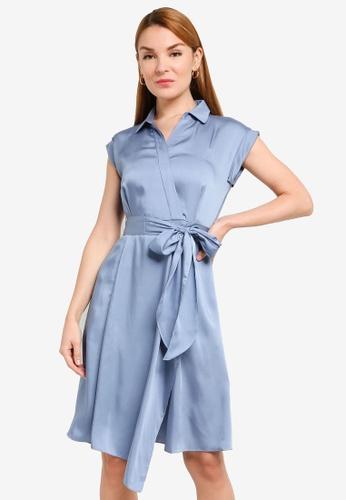 Hopeshow blue Asymmetrical Hem Front Wrap Dress BDB31AAFC8624BGS_1