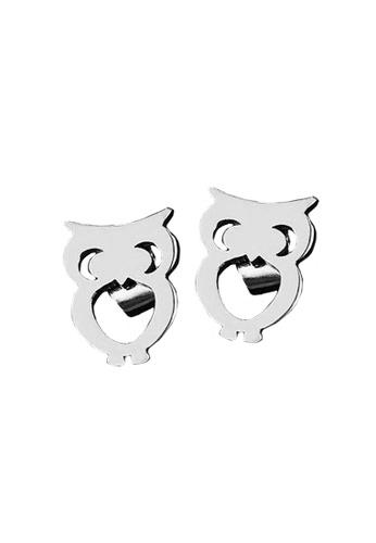 Elfi silver Elfi Stainless Steel Owl Ladies Fashion Stud Earrings 2689BACE0AADFAGS_1