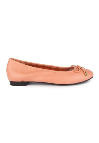 MAUD FRIZON orange Kid Leather Square Toe Ballerinas With Bow 49682SHDB9B64FGS_1