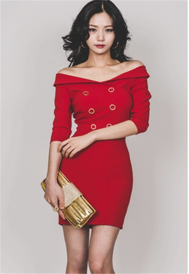 Fashion Slim Crystal neck Banquet bare shoulders V RED dress Korea qRcw4TZxP