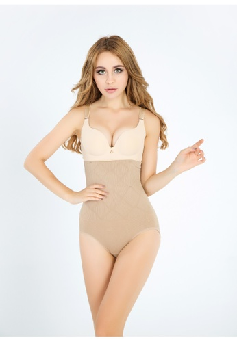 YSoCool beige High Waist Shaping Firm Control Shapewear YS154US50ITHMY_1