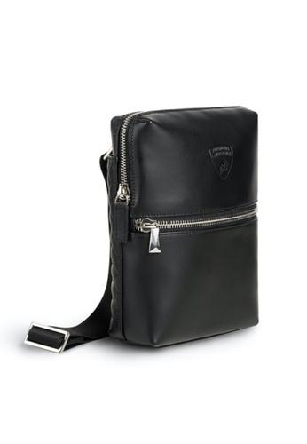 Lamborghini black Automobili Lamborghini® Pure Black Calf Leather Bodybag Made in Italy 150D4ACC5BFC19GS_1