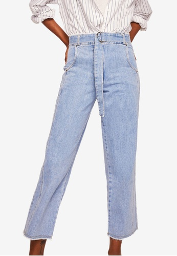 Mango blue Belt Relaxed Jeans 36B4CAA0E7C1C6GS_1
