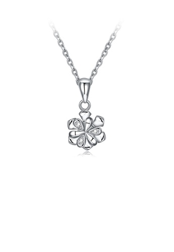 Glamorousky white 925 Sterling Silver Fashion Simple Flower Pendant with Cubic Zircon and Necklace 6E3EAAC1DBB1D6GS_1
