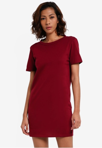 MISSGUIDED red Tawny Port Short Sleeve Dress 5B419AA675C024GS_1