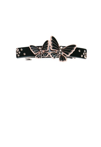 Glamorousky silver Fashion and Elegant Black Double Butterfly Hair Slide with Cubic Zirconia 4E2E4AC484450DGS_1