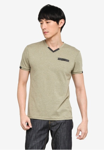 Fidelio green Fit In Contrasted V-Neck Active Tee 27805AAE05A63CGS_1