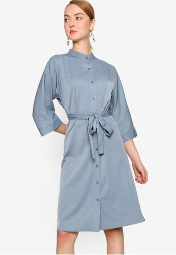 ZALORA WORK 藍色 綁帶襯衫洋裝 AA27FAAC117CFEGS_1