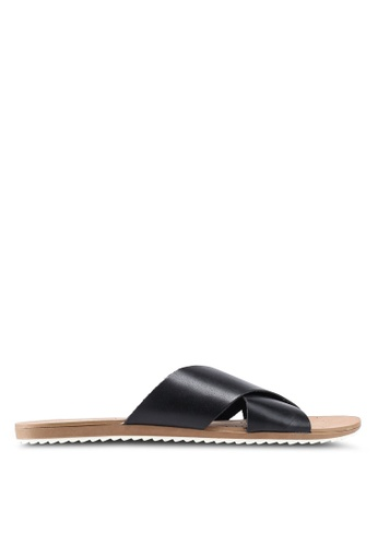 Atmos&Here black Calista Leather Slides DCEB7SH94AAFE3GS_1