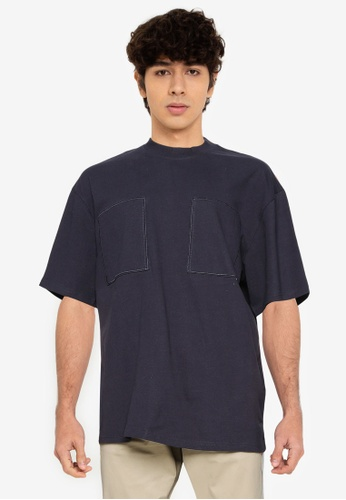 Only & Sons navy Asher Oversized Short Sleeve Tee 75C2EAACB50ED8GS_1