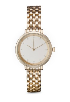 Encrusted Dial Round Face Chain Watch