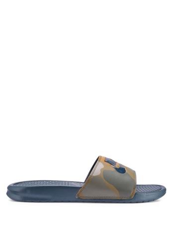 "Nike multi and navy Nike Benassi ""Just Do It."" Print Sandals 29F51SH8F76F33GS_1"