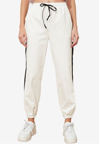 Trendyol white Side Panel Jogger Trousers 83CAAAA6BF26C2GS_1