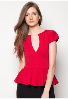 Mariz V-Neck Peplum Dress