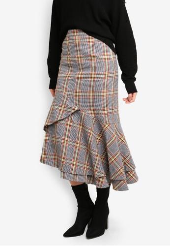 bYSI black Ruffle Asymmtric Flounce Skirt 8E66CAA868D1F1GS_1