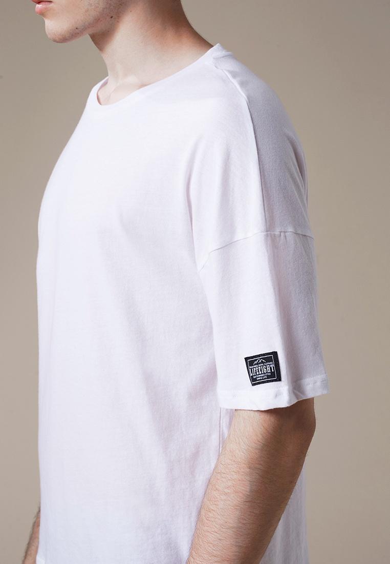 Life8 Neck Crew Cotton White Elbow Length 03868 Tee White pP0tPqw