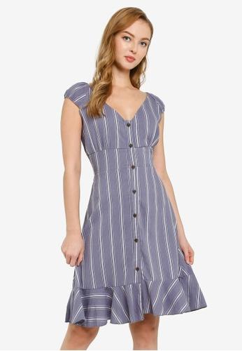 Brave Soul blue Button Through Short Sleeve Dress 99BB5AACB5BCA3GS_1
