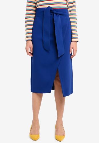 TOPSHOP blue Posh Wrap Tie Midi Skirt 77ACBAAE4F4A70GS_1