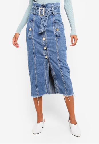 River Island blue Paula Midi Authentic Skirt 7A515AAB23170CGS_1